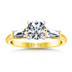 Three Stone Engagement Ring Prong Channel Set Tappered Baguette 14K Yellow Gold