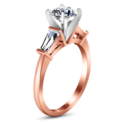 Three Stone Engagement Ring Prong Channel Set Tappered Baguette 14K Rose Gold