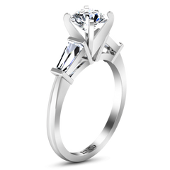 Three Stone Engagement Ring Prong Channel Set Tappered Baguette 14K White Gold