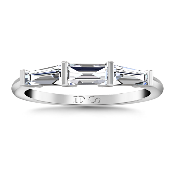 Diamond Wedding Band Prong Channel Set Tappered Baguette 0.38 Cts 14K White Gold