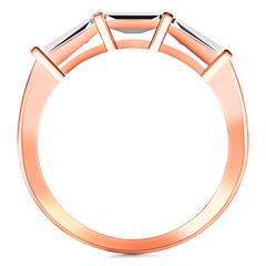 Diamond Wedding Band Prong Channel Set Tappered Baguette 0.38 Cts 14K Rose Gold