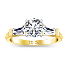 Three Stone Engagement Ring Structural Tapered Baguette 14K Yellow Gold