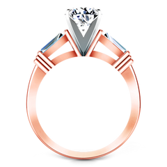 Three Stone Engagement Ring Structural Tapered Baguette 14K Rose Gold