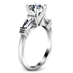 Three Stone Engagement Ring Structural Tapered Baguette 14K White Gold