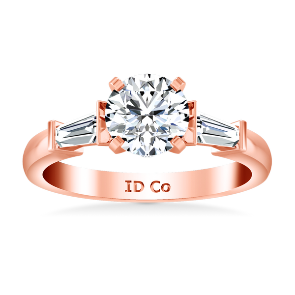 Pave Engagement Ring Classic Baguette 14K Rose Gold