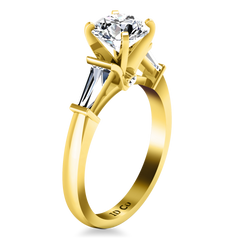 Pave Engagement Ring Classic Baguette 14K Yellow Gold