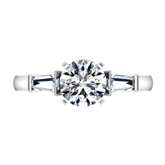 Pave Engagement Ring Classic Baguette 14K White Gold