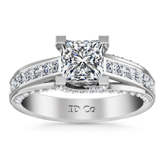 Pave Princess Cut Engagement Ring Isabella 14K White Gold