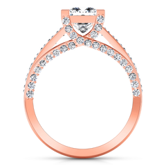 Pave Princess Cut Engagement Ring Isabella 14K Rose Gold
