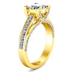Pave Princess Cut Engagement Ring Isabella 14K Yellow Gold