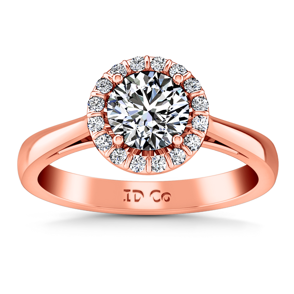 Halo Engagement Ring Soleil 14K Rose Gold