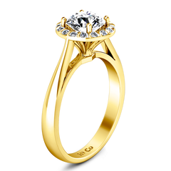 Halo Engagement Ring Soleil 14K Yellow Gold