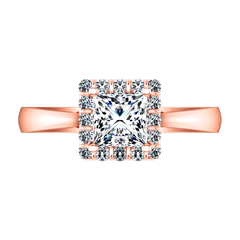 Halo Princess Cut Engagement Ring Lumiere 14K Rose Gold