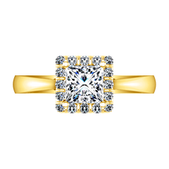 Halo Princess Cut Engagement Ring Lumiere 14K Yellow Gold