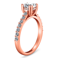 Pave Princess Cut Engagement Ring Jasmine 14K Rose Gold
