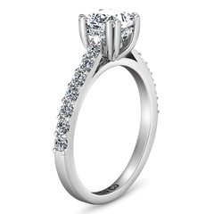 Pave Princess Cut Engagement Ring Jasmine 14K White Gold