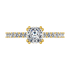 Pave Princess Cut Engagement Ring Jasmine 14K Yellow Gold