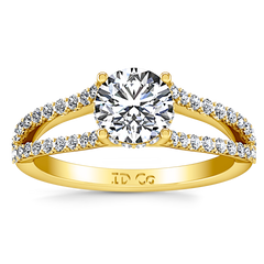 Pave Engagement Ring Fantasia 14K Yellow Gold