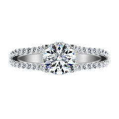 Pave Engagement Ring Fantasia 14K White Gold