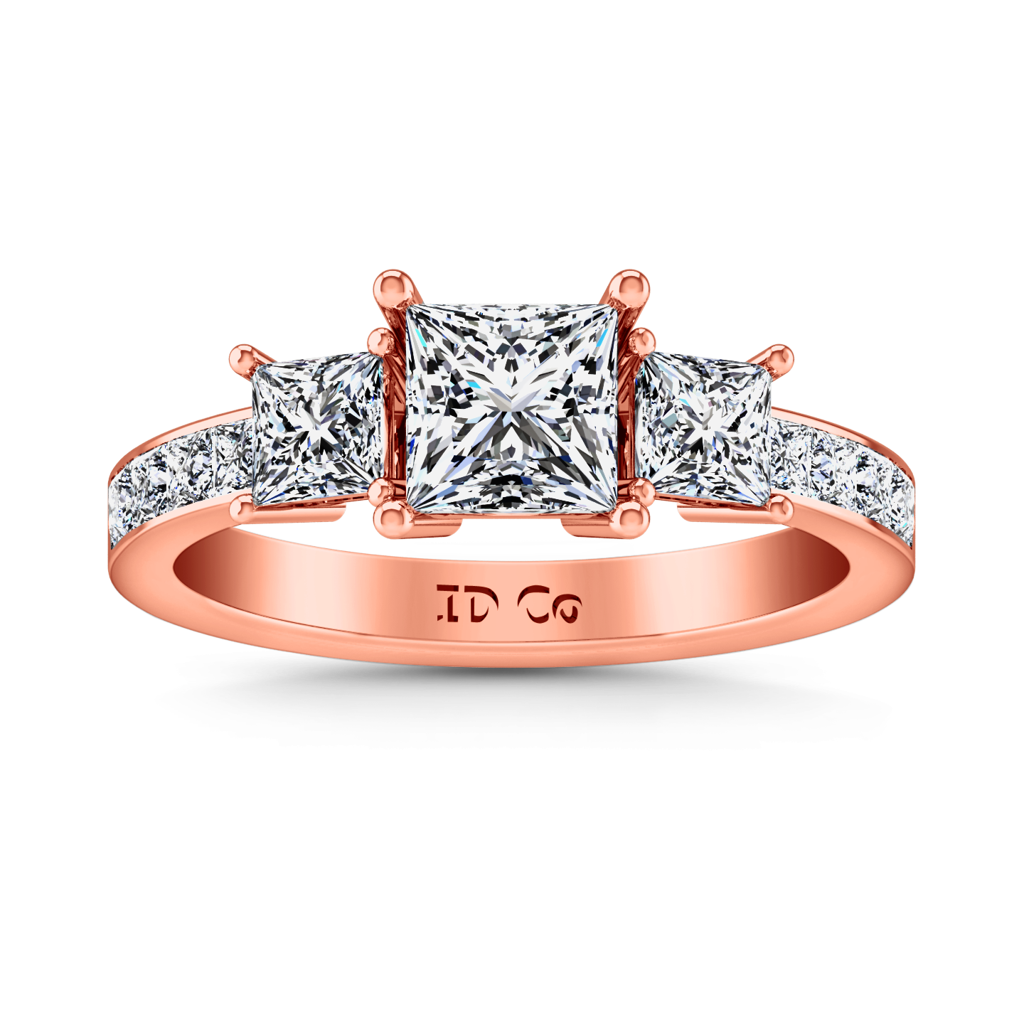 Three Stone Princess Cut Engagement Ring Rebecca 14K Rose Gold – Imagine  Diamonds 59b22f00bbdc