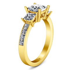 Three Stone Princess Cut Engagement Ring Rebecca 14K Yellow Gold