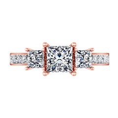 Three Stone Princess Cut Engagement Ring Rebecca 14K Rose Gold