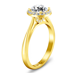 Halo  Engagement Ring Etoile 14K Yellow Gold