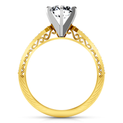 Pave Engagement Ring Arabesque 14K Yellow Gold
