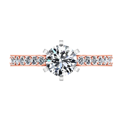 Pave Engagement Ring Arabesque 14K Rose Gold