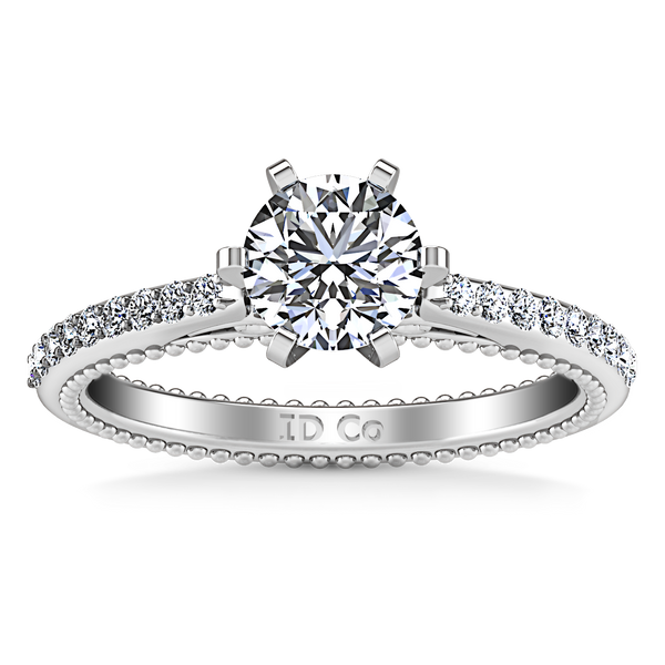 Pave Engagement Ring Embrace 14K White Gold