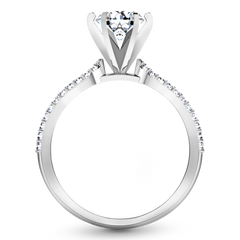 Pave Engagement Ring Tres Jolie 14K White Gold