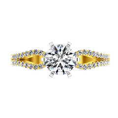 Pave Engagement Ring Tres Jolie 14K Yellow Gold