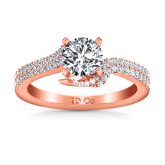 Pave Engagement Ring Amber 14K Rose Gold