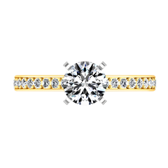 Pave Engagement Ring Belle 14K Yellow Gold