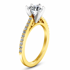 Pave Engagement Ring Juliette 14K Yellow Gold