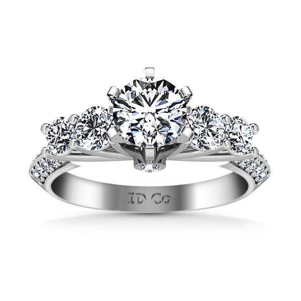 Pave Engagement Ring Regal 14K White Gold