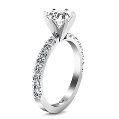 Pave Engagement Ring Lauren 14K White Gold