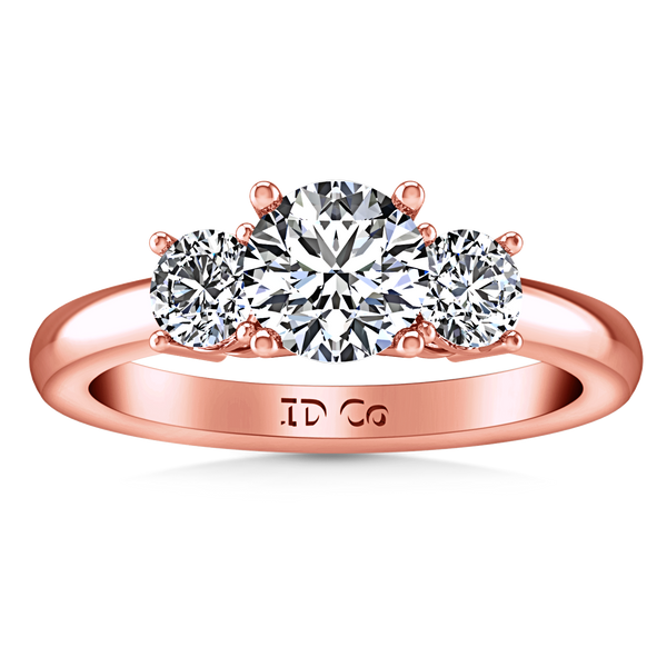 Three Stone Engagement Ring Classic 14K Rose Gold