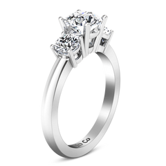 Three Stone Engagement Ring Classic 14K White Gold