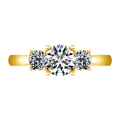 Three Stone Engagement Ring Classic 14K Yellow Gold