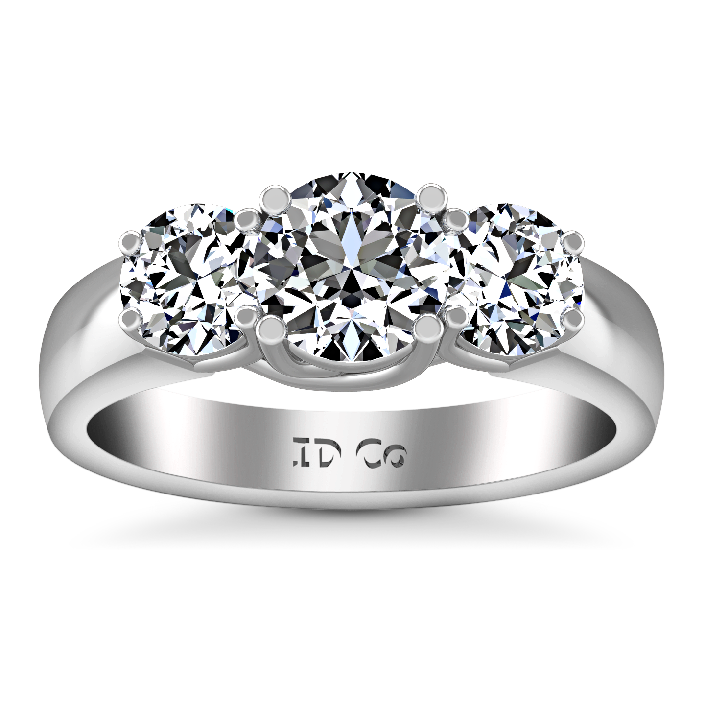 diamond shank round ring engagement platinum prong with in white solitaire rings rounded