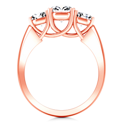 Three Stone Engagement Ring 4 Prong Lattice 14K Rose Gold
