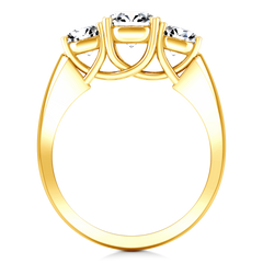 Three Stone Engagement Ring 4 Prong Lattice 14K Yellow Gold
