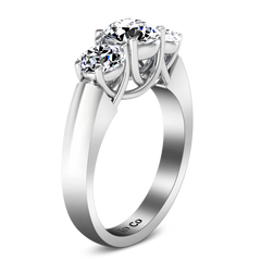 Three Stone Engagement Ring 4 Prong Lattice 14K White Gold