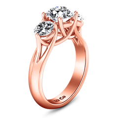 Three Stone Engagement Ring Charlotte 14K Rose Gold