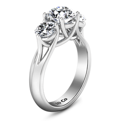 Three Stone Engagement Ring Charlotte 14K White Gold