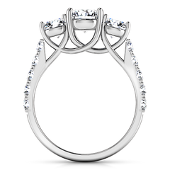 Three Stone Engagement Ring Victoria 14K White Gold