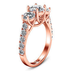 Three Stone Engagement Ring Victoria 14K Rose Gold