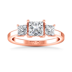 Three Stone Engagement Ring Adonna 14K Rose Gold