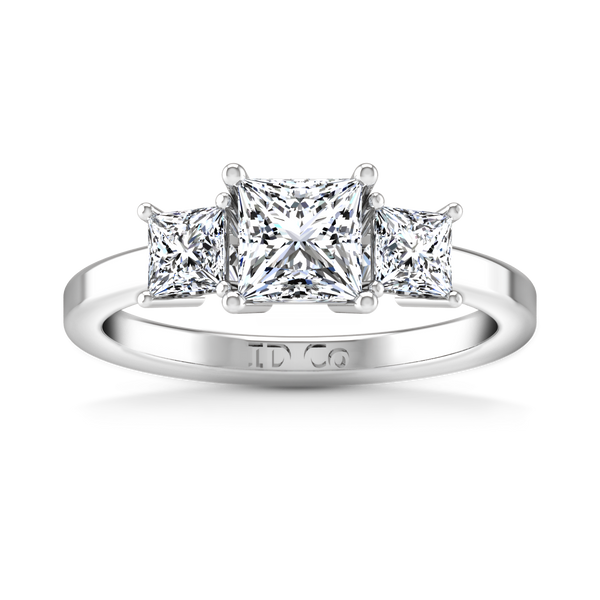 Three Stone Engagement Ring Adonna 14K White Gold
